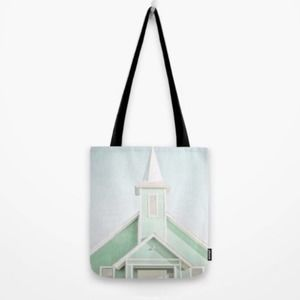 SOCIETY 6 Mint Green Graphic Art Canvas Tote Bag